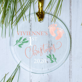Personalized First - Girl Christmas Ornament