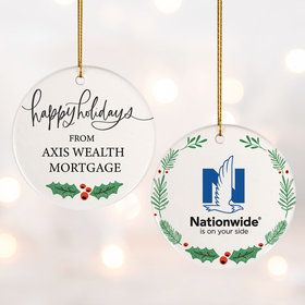 Add Your Logo Happy Holidays Christmas Ornament
