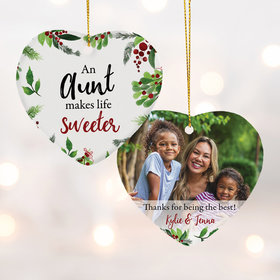 Personalized an Aunt makes Life Sweeter Christmas Ornament