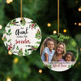 Personalized Aunt Photo Christmas Ornament