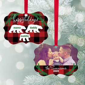 Personalized Bear Family of 3 Christmas Ornament