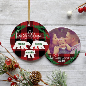 Personalized Plaid Bear Family of 3 Christmas Ornament