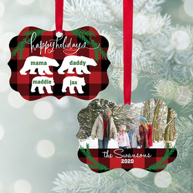Personalized Bear Family of 4 Christmas Ornament