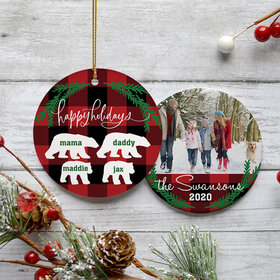Personalized Plaid Bear Family of 4 Christmas Ornament