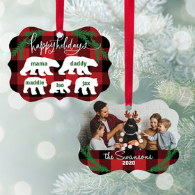 Personalized Bear Family of 5 Christmas Ornament