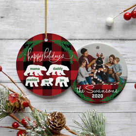 Personalized Plaid Bear Family of 5 Christmas Ornament