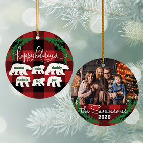 Personalized Plaid Bear Family of 6 Christmas Ornament