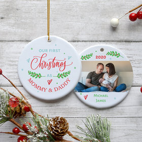 Personalized 'First Christmas as Mommy & Daddy' Family Photo Christmas Ornament