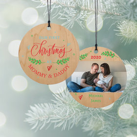 Personalized 1st Christmas as Mom & Dad Christmas Ornament