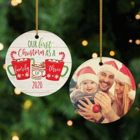 Personalized First Christmas As a Family of 3 Photo Christmas Ornament