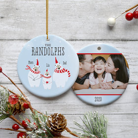 Personalized Polar Bear Family of 3 Photo Christmas Ornament