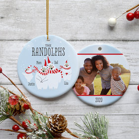 Personalized Polar Bear Family of 4 Photo Christmas Ornament