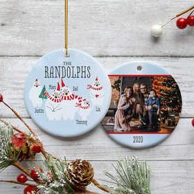 Personalized Polar Bear Family of 5 Photo Christmas Ornament