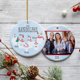 Personalized Polar Bear Family of 6 Photo Christmas Ornament