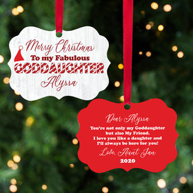 Personalized Fabulous Goddaughter Christmas Ornament