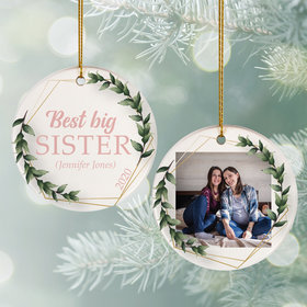 Personalized Best Big Sister Photo Christmas Ornament