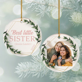 Personalized Best Little Sister Photo Christmas Ornament