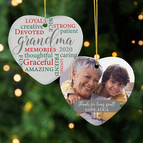 Personaized Grandma Word Cloud Christmas Ornament