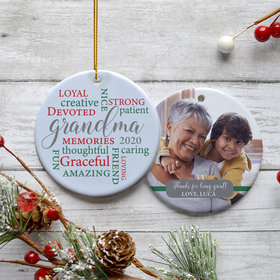 Personalized Grandma Word Cloud Photo Christmas Ornament