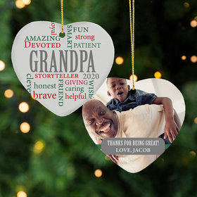 Personalized Grandpa Word Cloud Christmas Ornament