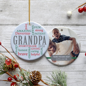 Personalized Grandpa Word Cloud Photo Christmas Ornament