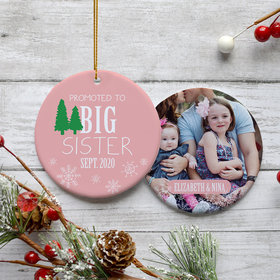 Personalized Promoted to Big Sister Photo Christmas Ornament