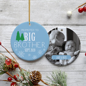 Personalized Promoted to Big Brother Photo Christmas Ornament