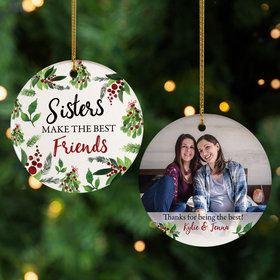 Personalized Sisters Photo Christmas Ornament