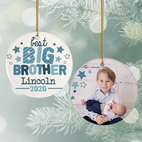 Personalized Best Big Brother Photo Christmas Ornament