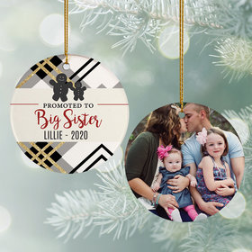Personalized Promoted to Big Sister Christmas Ornament