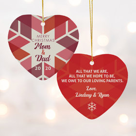 Personalized Family Parents Snowflakess Christmas Ornament