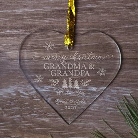 Personalized Grandma Grandpa - Etched Christmas Ornament