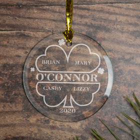 Personalized Irish Family of 4 Christmas Ornament