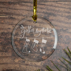 Personalized Family of 3 'Gather Together' Christmas Ornament