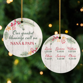 Personalized Grandkids Greatest Blessing Christmas Ornament
