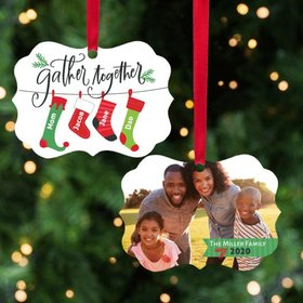 Personalized Stocking Family of 4 Christmas Ornament