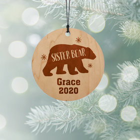 Personalized Sister Bear Christmas Ornament