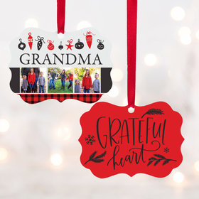 Personalized Grateful Heart Christmas Ornament