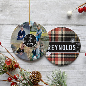 Personalized Plaid Family Pictures Christmas Ornament