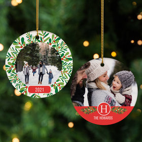 Personalized Family Wreath Christmas Ornament