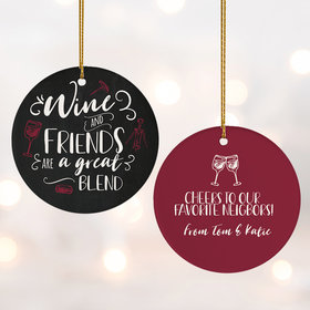 Personalized Wine and Friends Christmas Ornament