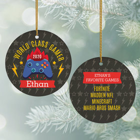 Personalized World Class Gamer Christmas Ornament