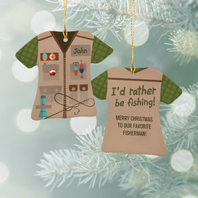 Personalized Fisherman Vest Christmas Ornament