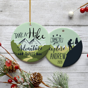 Personalized Hiking Christmas Ornament