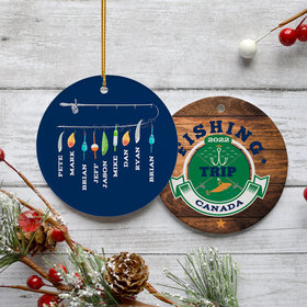 Personalized Fishing Trip Group Christmas Ornament