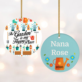 Personalized The Garden is my Happy Place Christmas Ornament