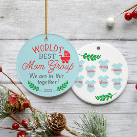 Personalized Best Mom Group Christmas Ornament