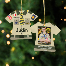 Personalized Boy Scout Uniform Shirt Christmas Ornament