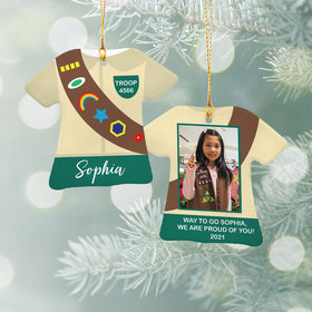 Personalized Girl Scout Uniform Shirt Christmas Ornament