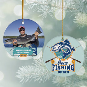 Personalized Gone Fishing Photo Christmas Ornament